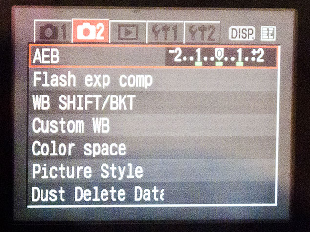 Th screen on a DSLR Camera showing the selection of exposure